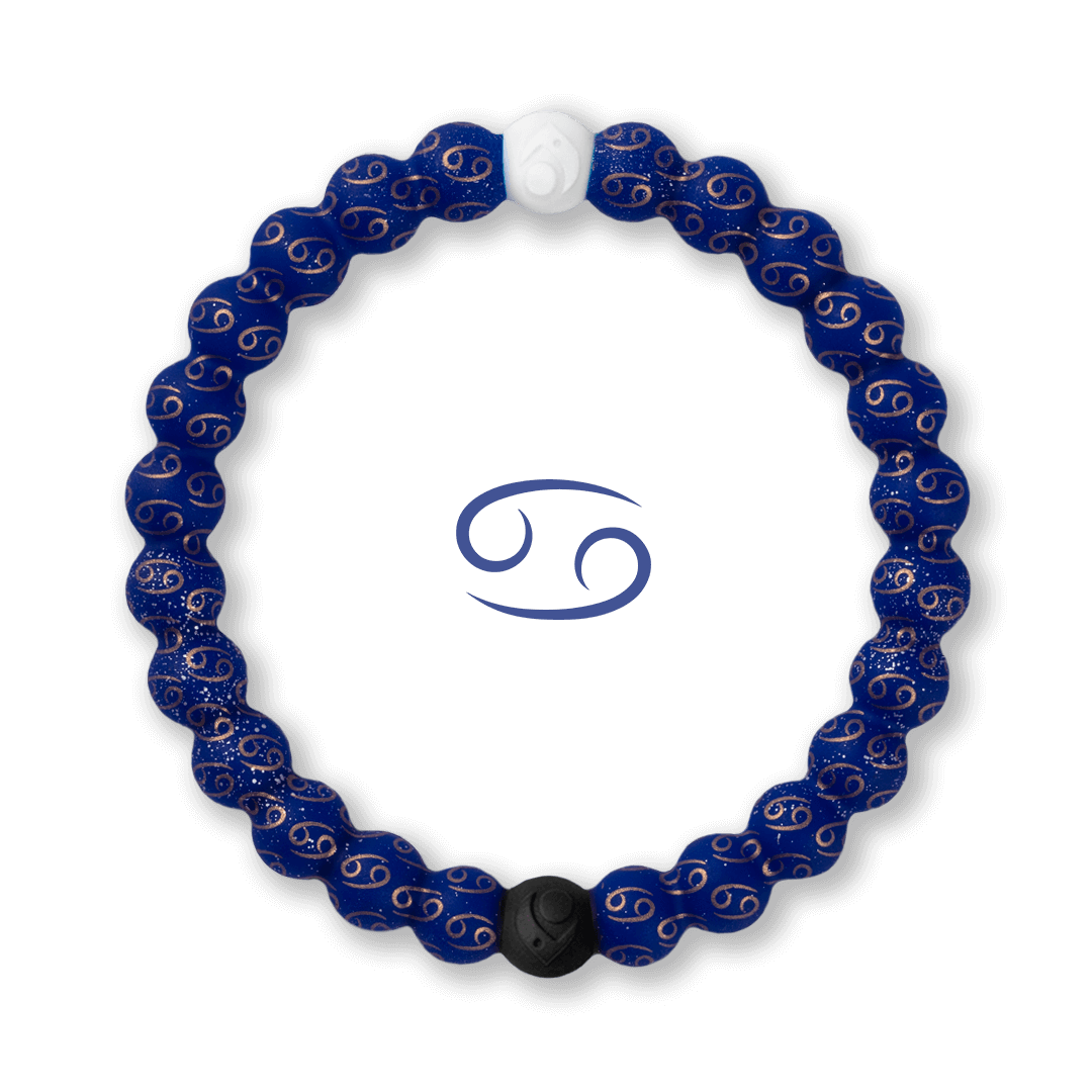 Silicone beaded bracelet with Cancer symbol pattern.