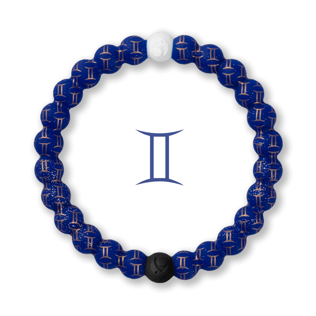 Silicone beaded bracelet with Gemini symbol pattern.