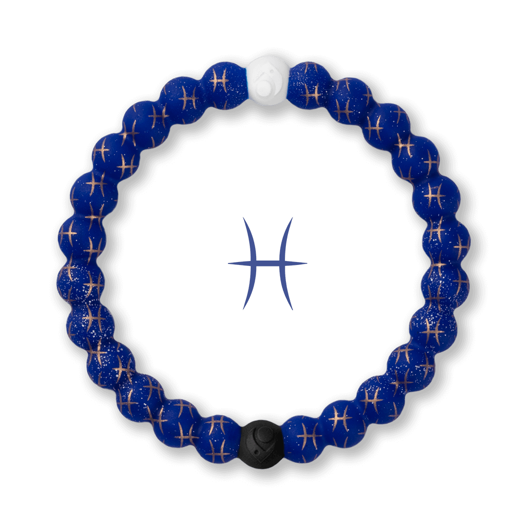 Silicone beaded bracelet with Pisces symbol pattern.