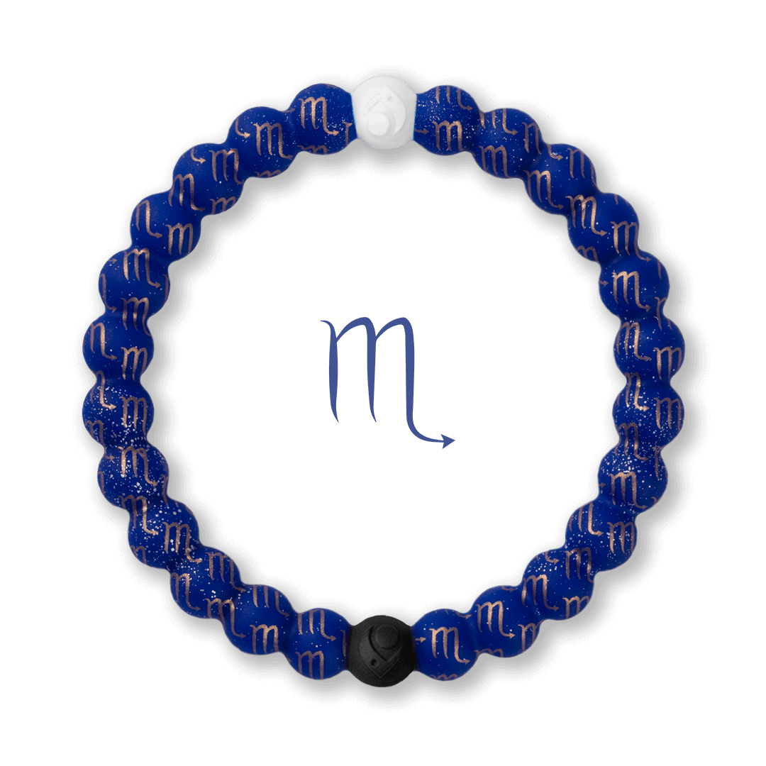 Silicone beaded bracelet with Scorpio symbol pattern.