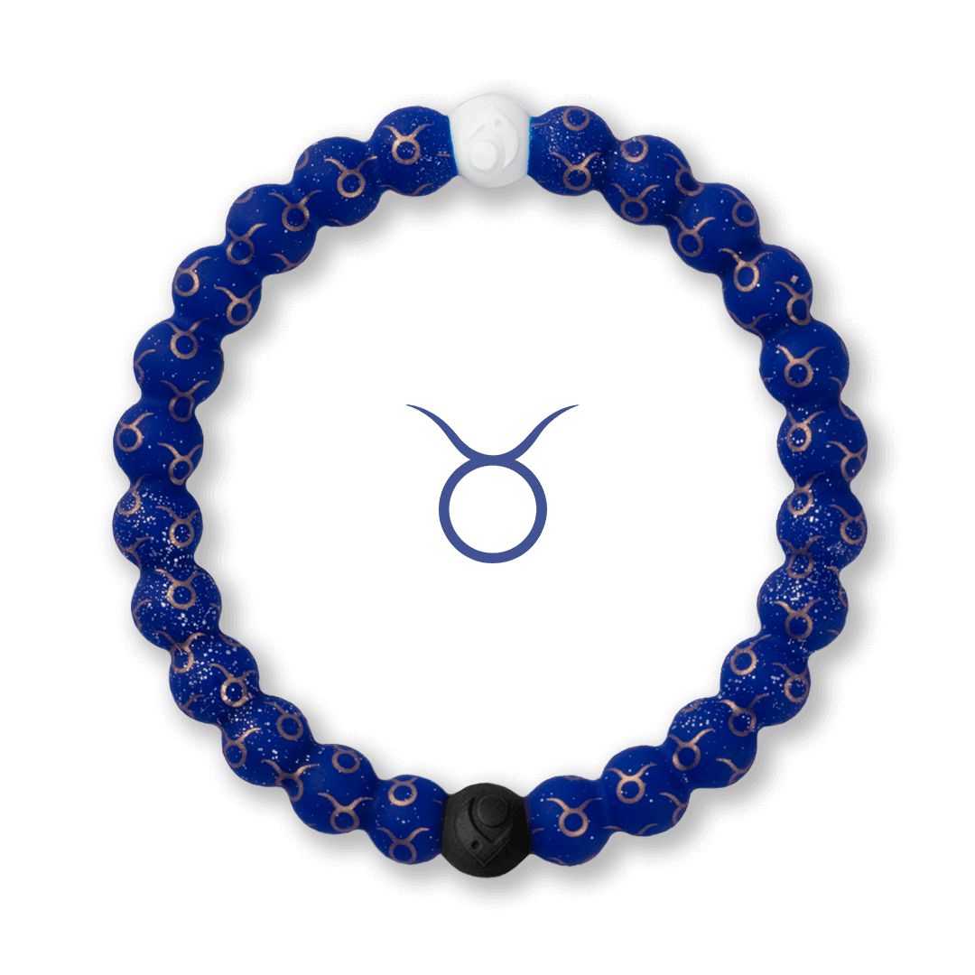 Silicone beaded bracelet with Taurus symbol pattern.
