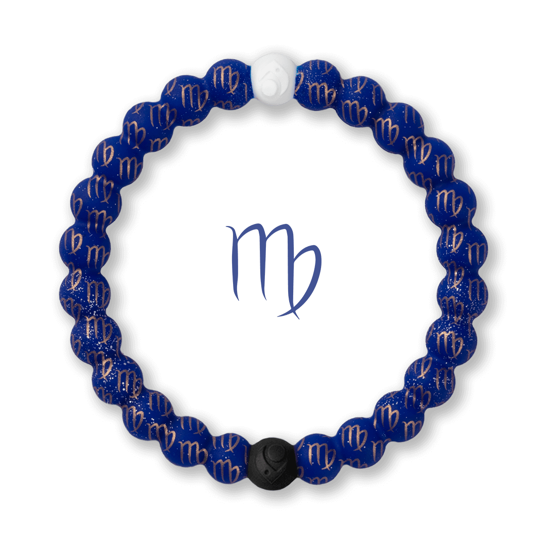 Silicone beaded bracelet with Virgo symbol pattern