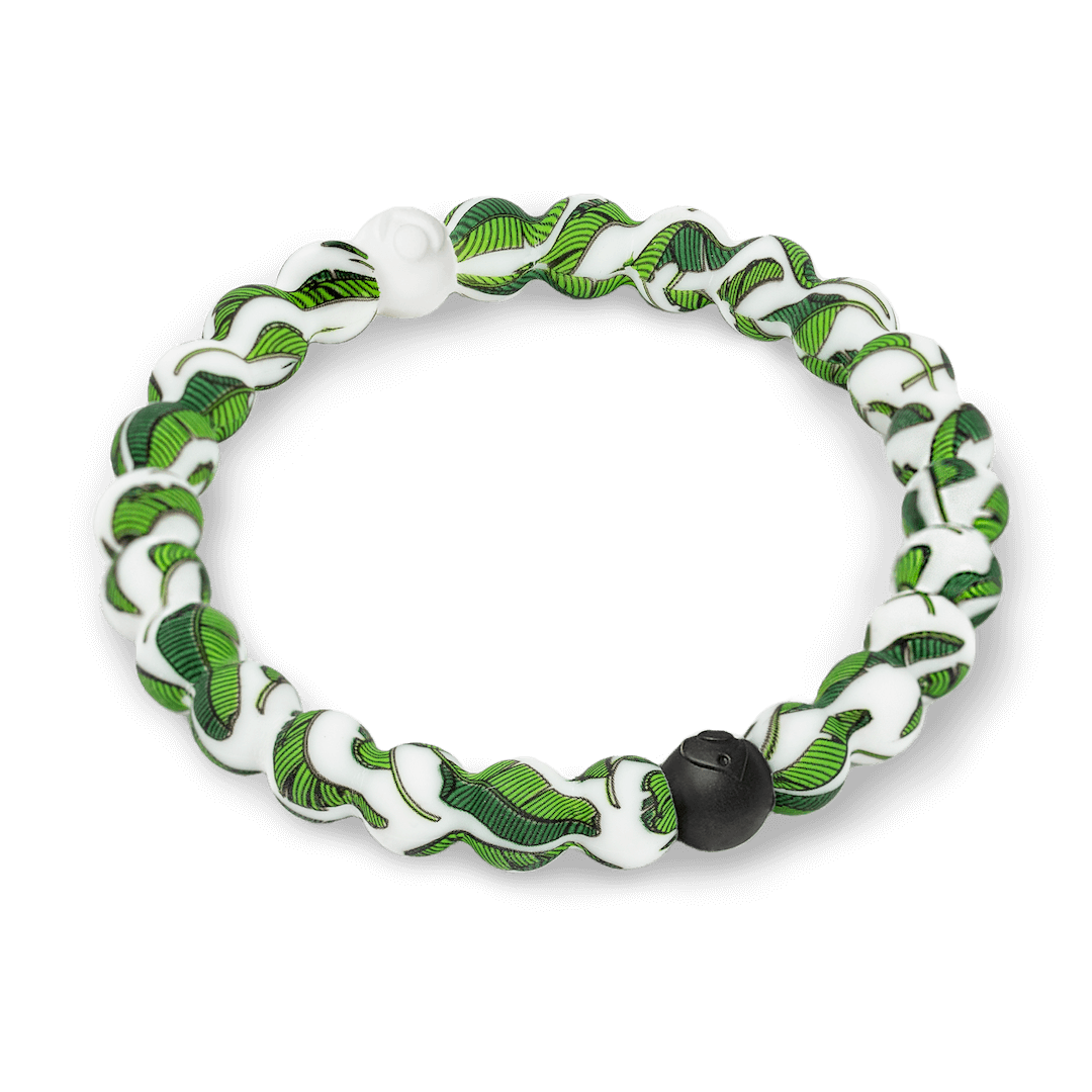 Side angle of banana leaf patterned silicone beaded bracelet.