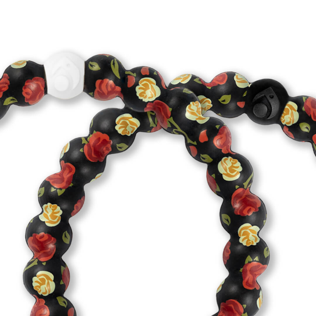 Close up of silicone beaded bracelet with rose pattern