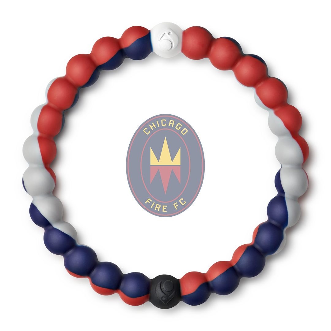 A red, gray, and navy blue swirl silicone beaded bracelet.