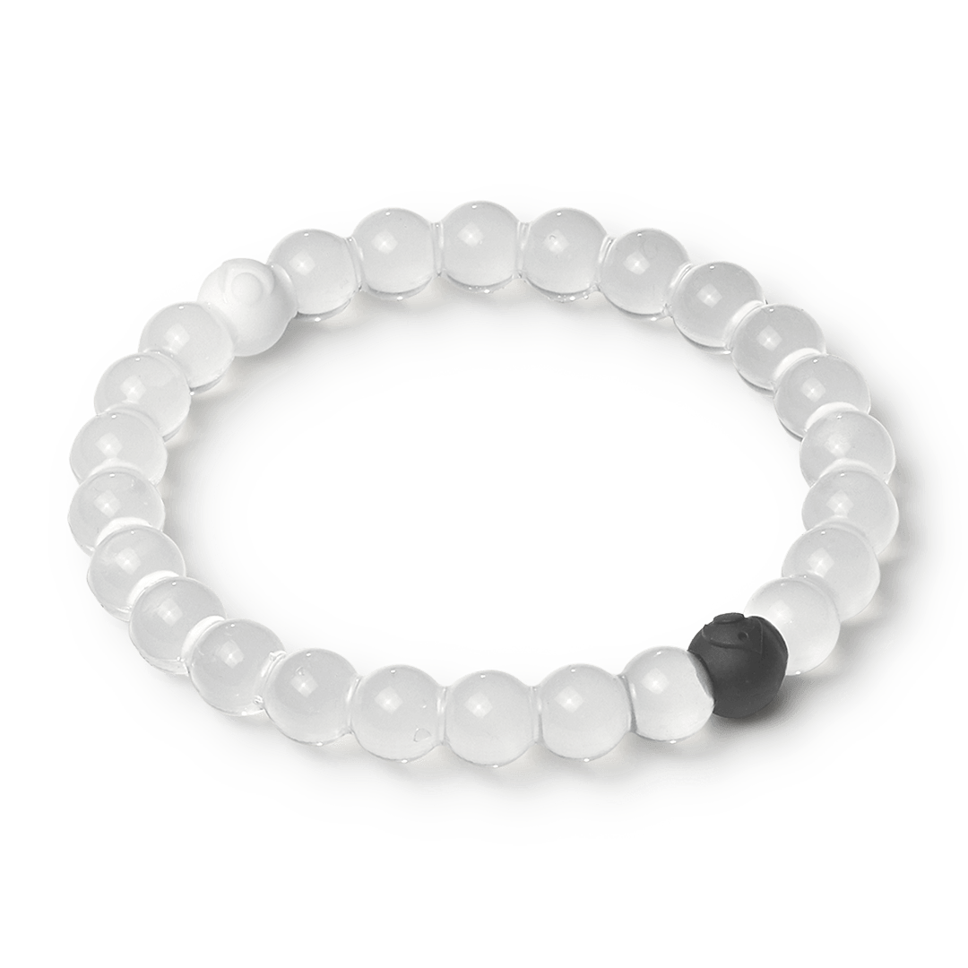 Side angle of clear silicone beaded bracelet.