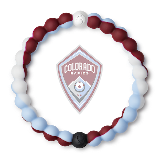 A maroon, white, and light blue swirl silicone beaded bracelet.