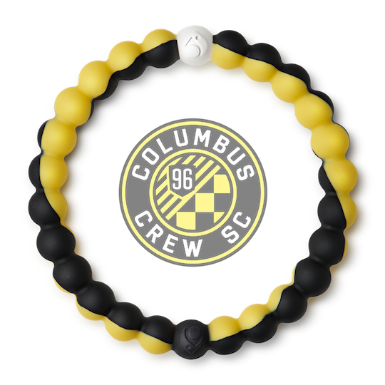 A black and yellow swirl silicone beaded bracelet