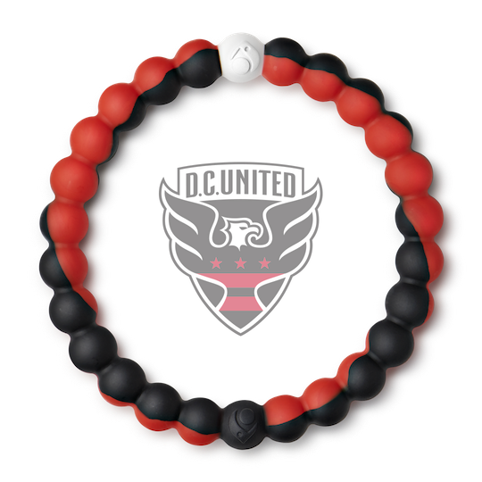 A black and red swirl silicone beaded bracelet