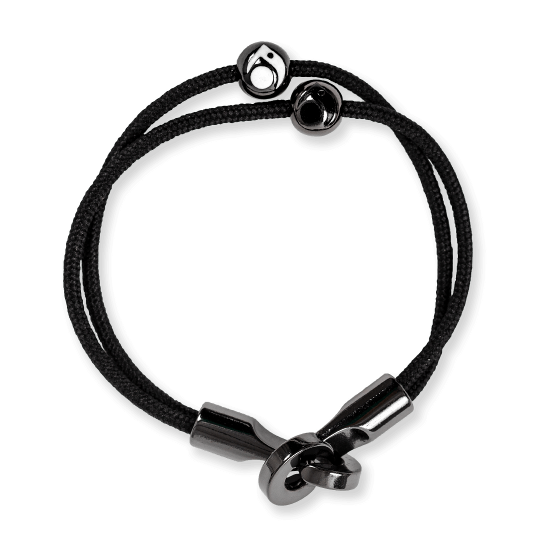 Black cord bracelet with two gunmetal metal beads and a metal hook closure.