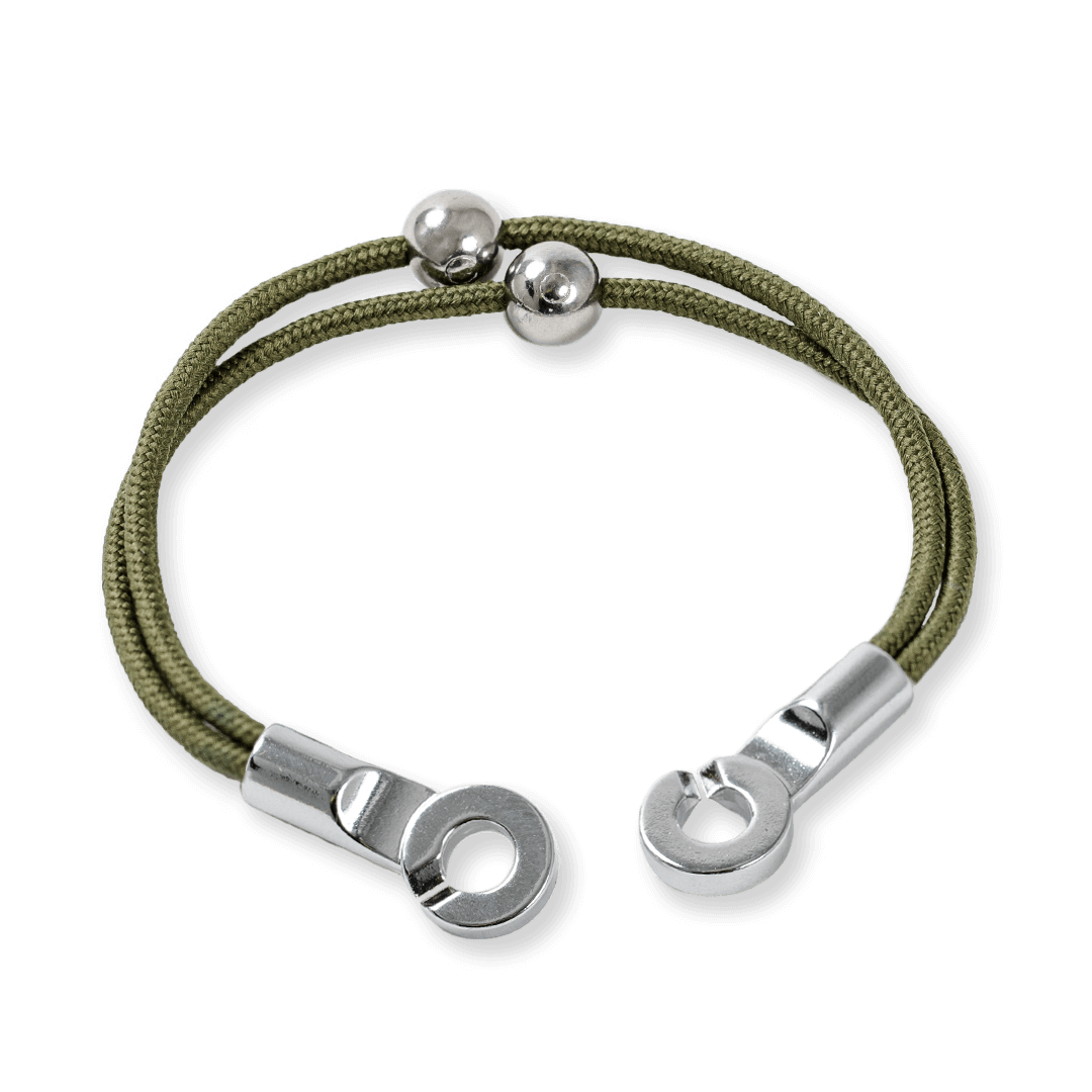 Side angle of light green cord bracelet with two silver metal beads and a metal hook closure.