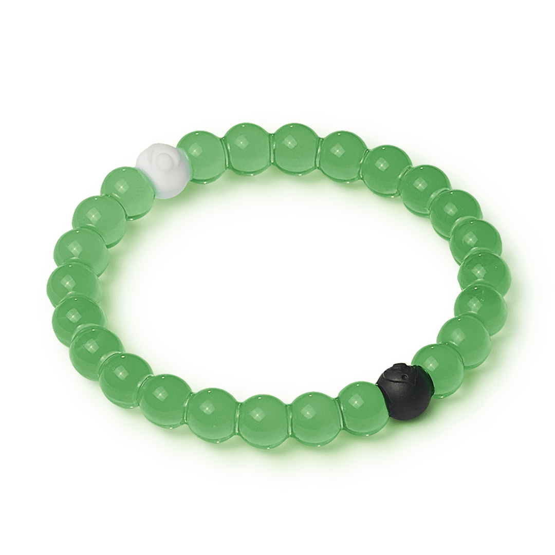 Side angle of green silicone beaded bracelet.