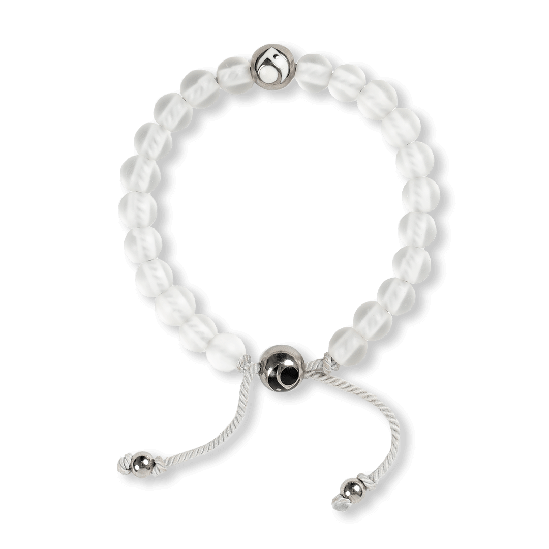 Clear glass bead bracelet on a white woven cord with two silver metal beads.