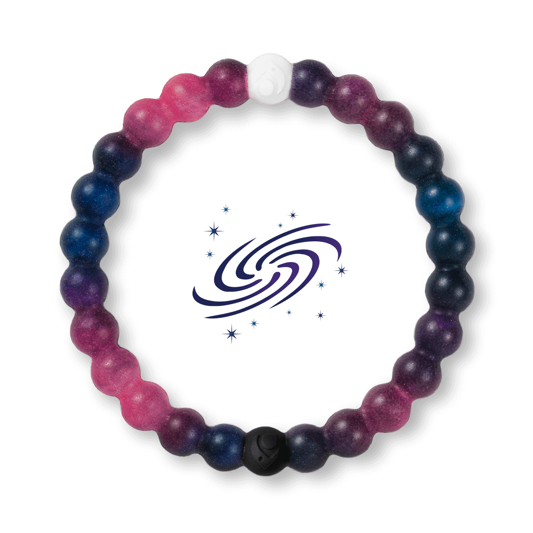 Galaxy patterned silicone beaded bracelet. A