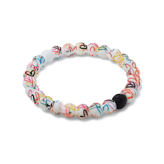Side angle of hearts patterned silicone beaded bracelet.