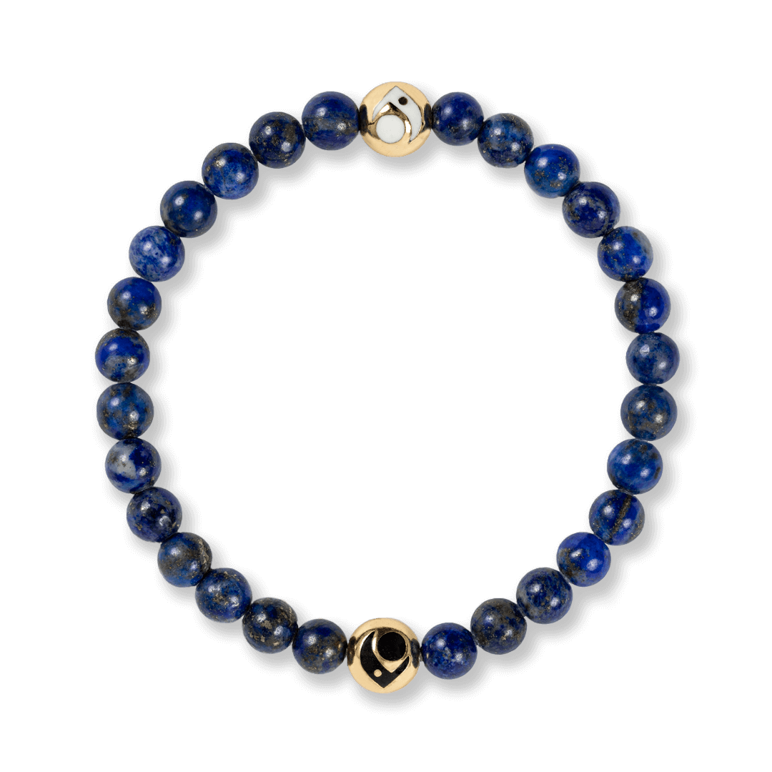Deep blue stone beaded bracelet. A
