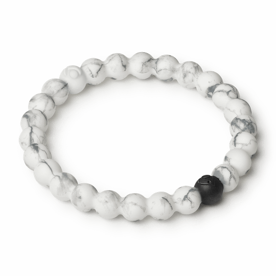 Side angle of white marble silicone beaded bracelet.
