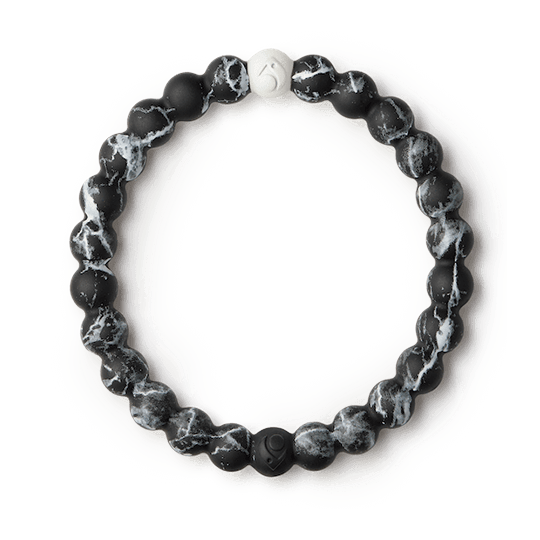 Black marble silicone beaded bracelet.