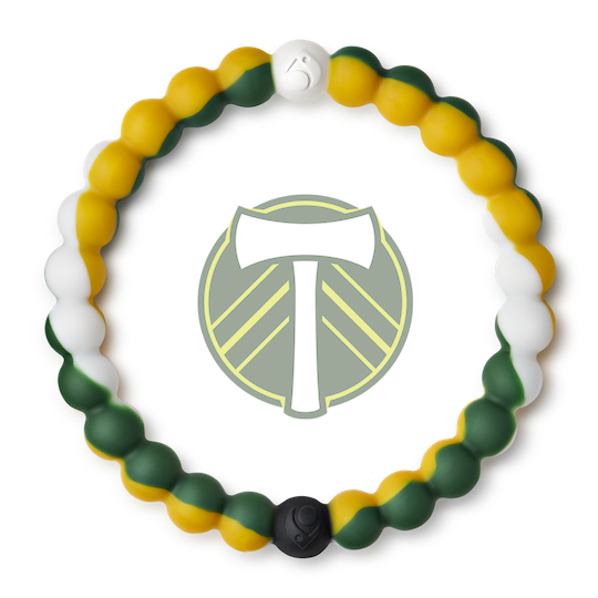 A green, white and yellow swirl silicone beaded bracelet.