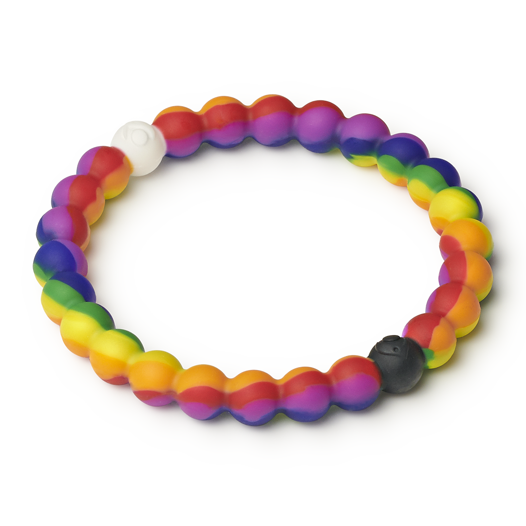 Side angle of rainbow swirl silicone beaded bracelet.