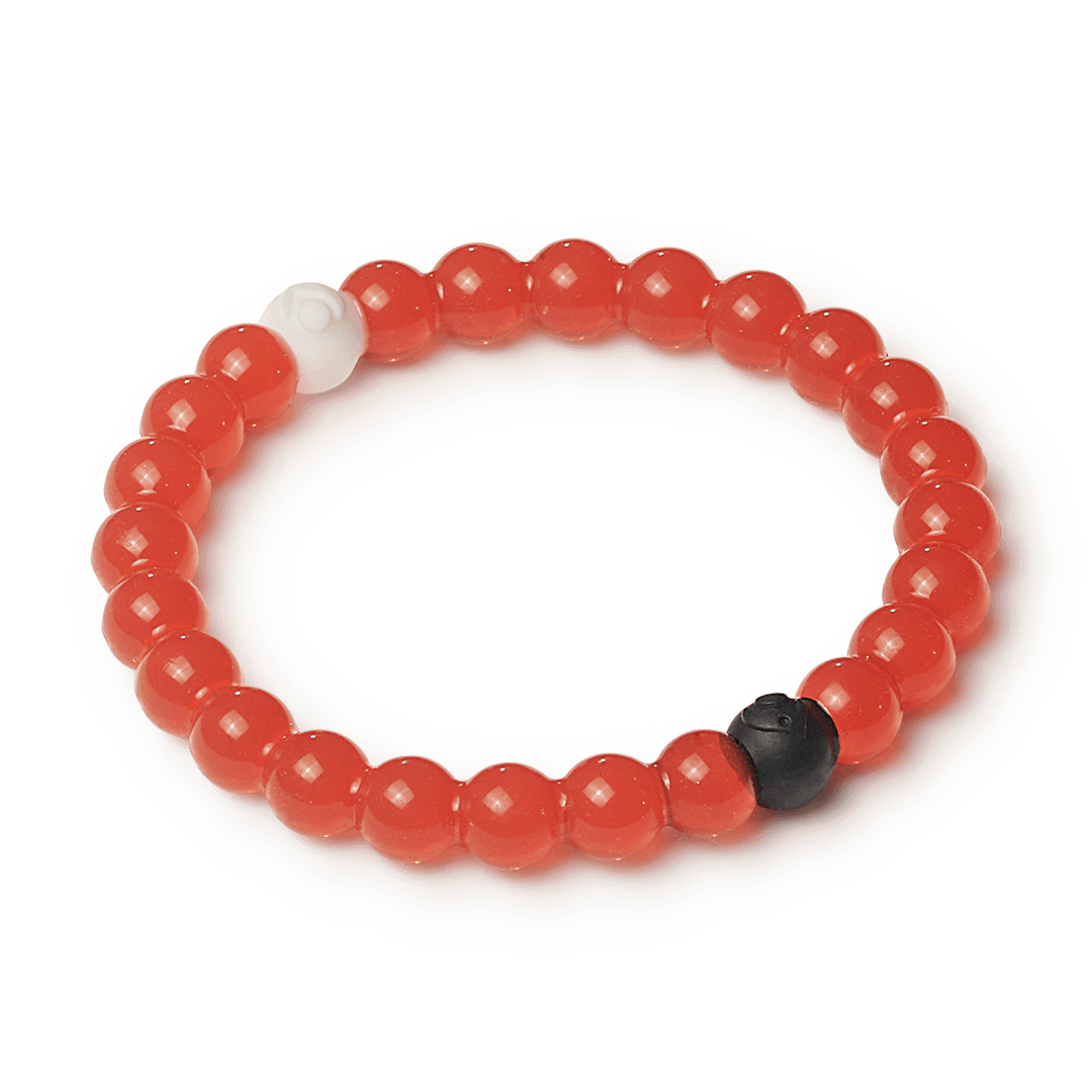 Side angle of red silicone beaded bracelet.