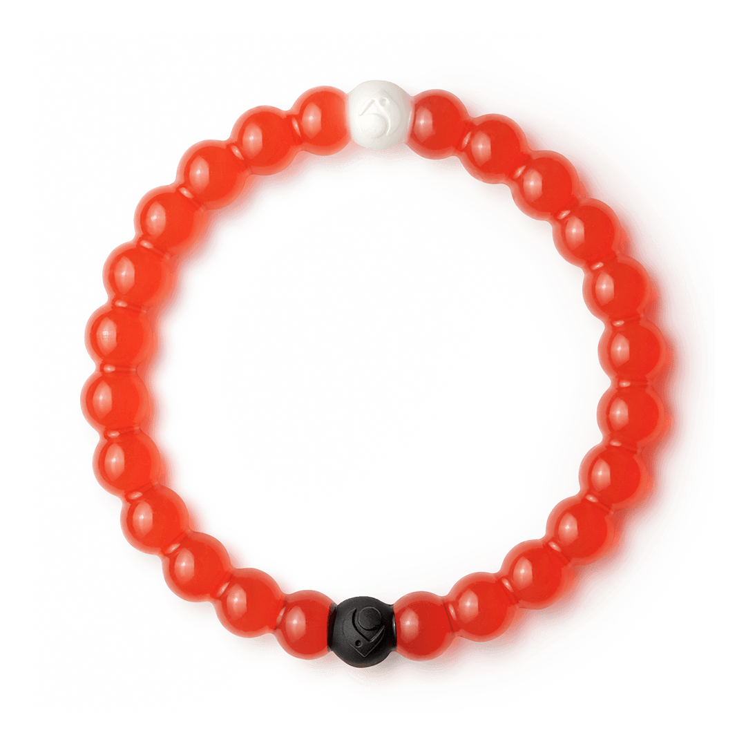Red silicone beaded bracelet. A