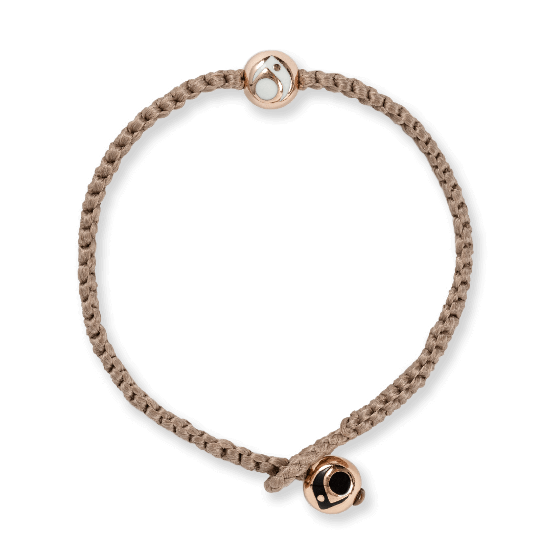 Taupe woven bracelet with two rose gold metal beads.