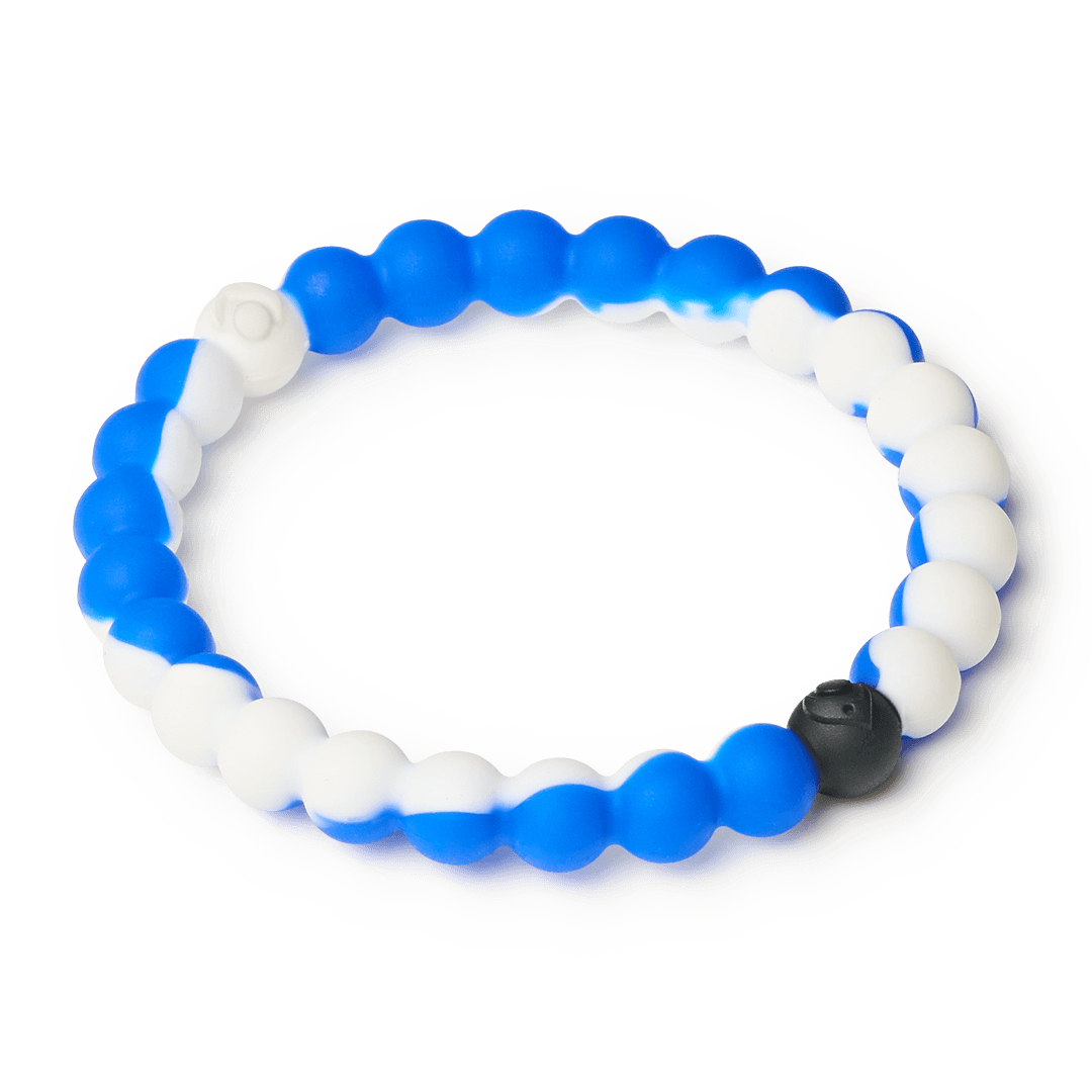 Side angle of blue and white swirl silicone beaded bracelet.