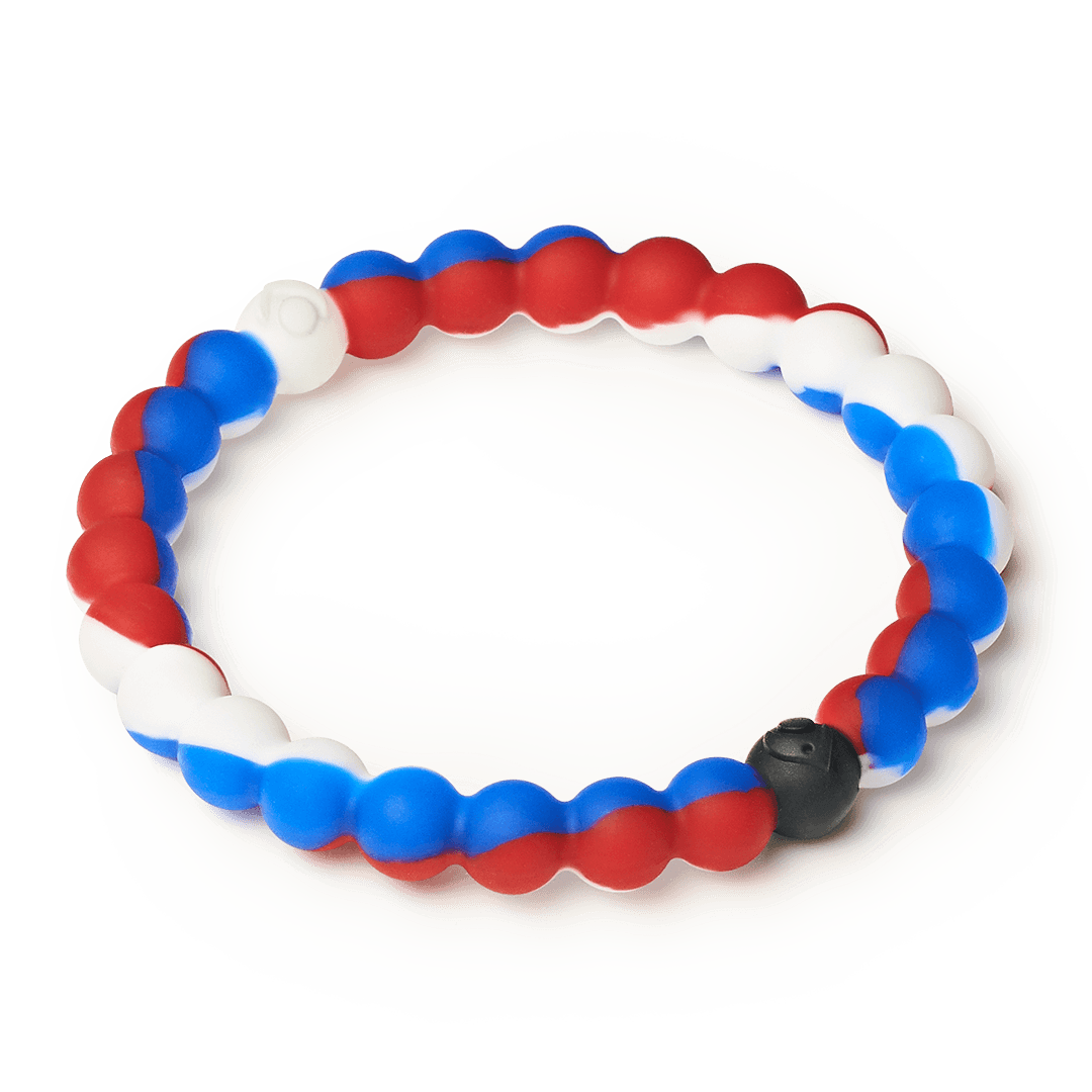 Side angle of red, white and blue swirl silicone beaded bracelet.
