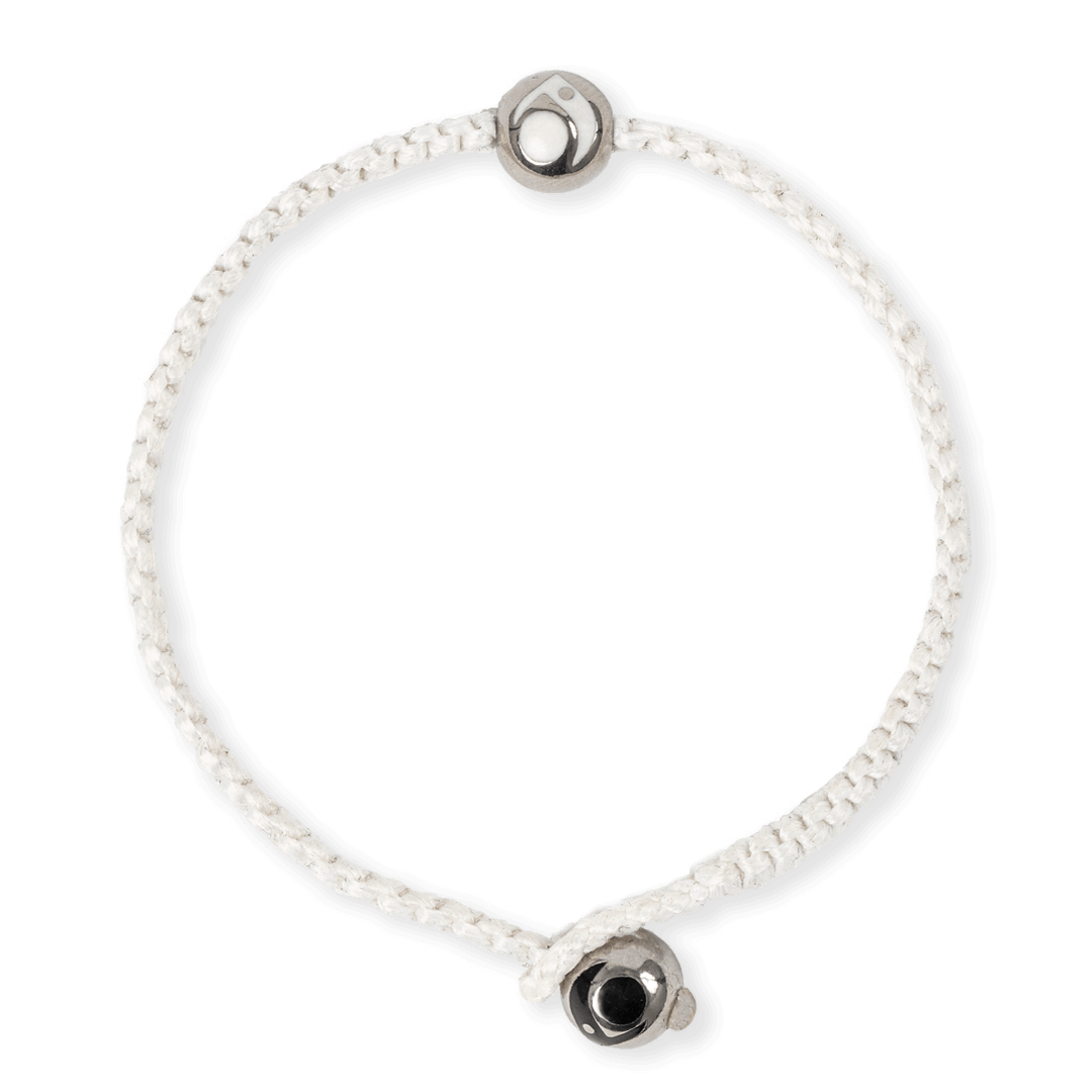 White woven bracelet with two silver metal beads.