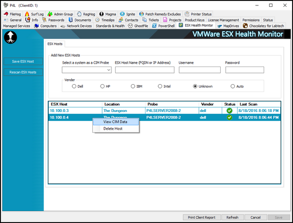 VMware ESX health Monitor for LabTech Client Tab