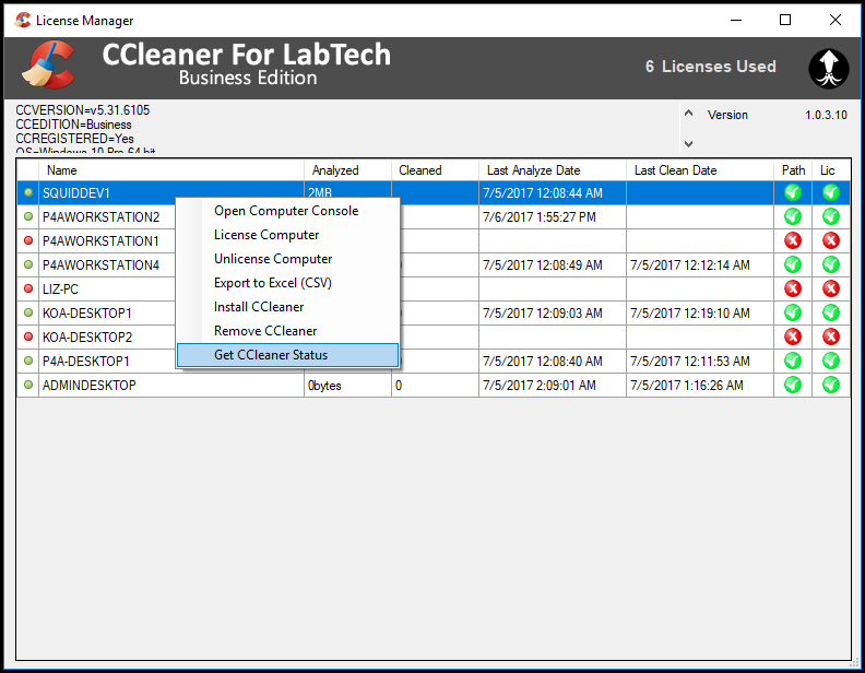 CCleaner for Labtech License manager