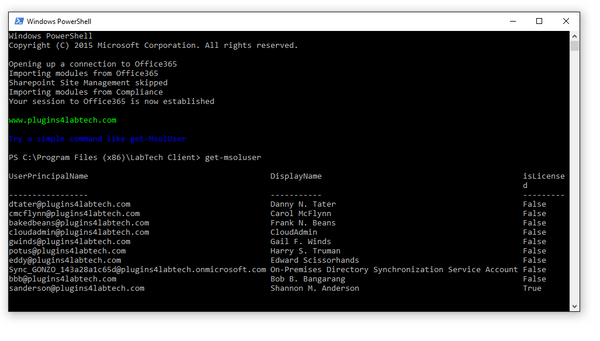 MSOL PowerShell console