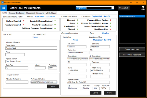 Office365 For Automate Main Console