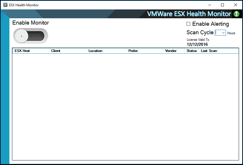 ESX Health Monitor main view at startup