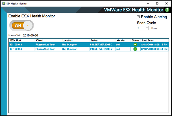 ESX Health Monitor main console