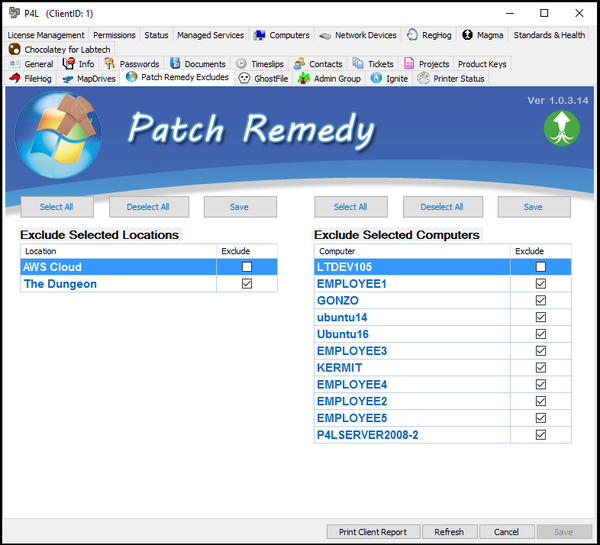 Exclude agents from Patch Remedy
