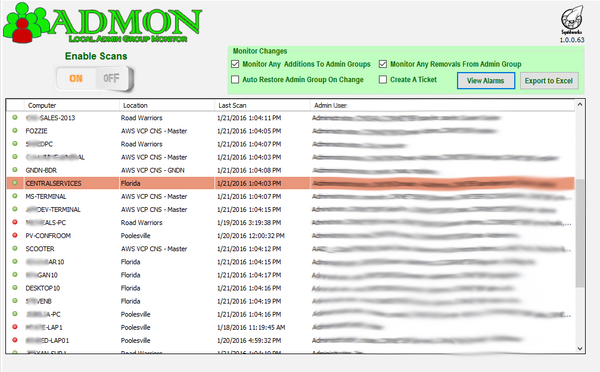 Admon Users list