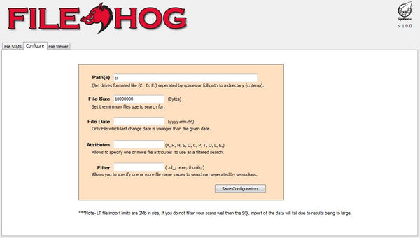 File hog Configure