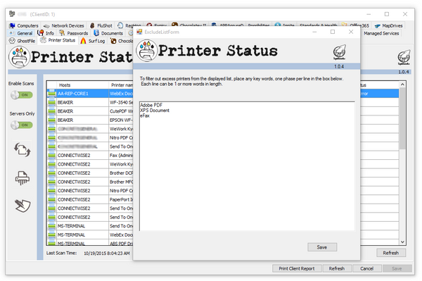 Printer Status Excludes