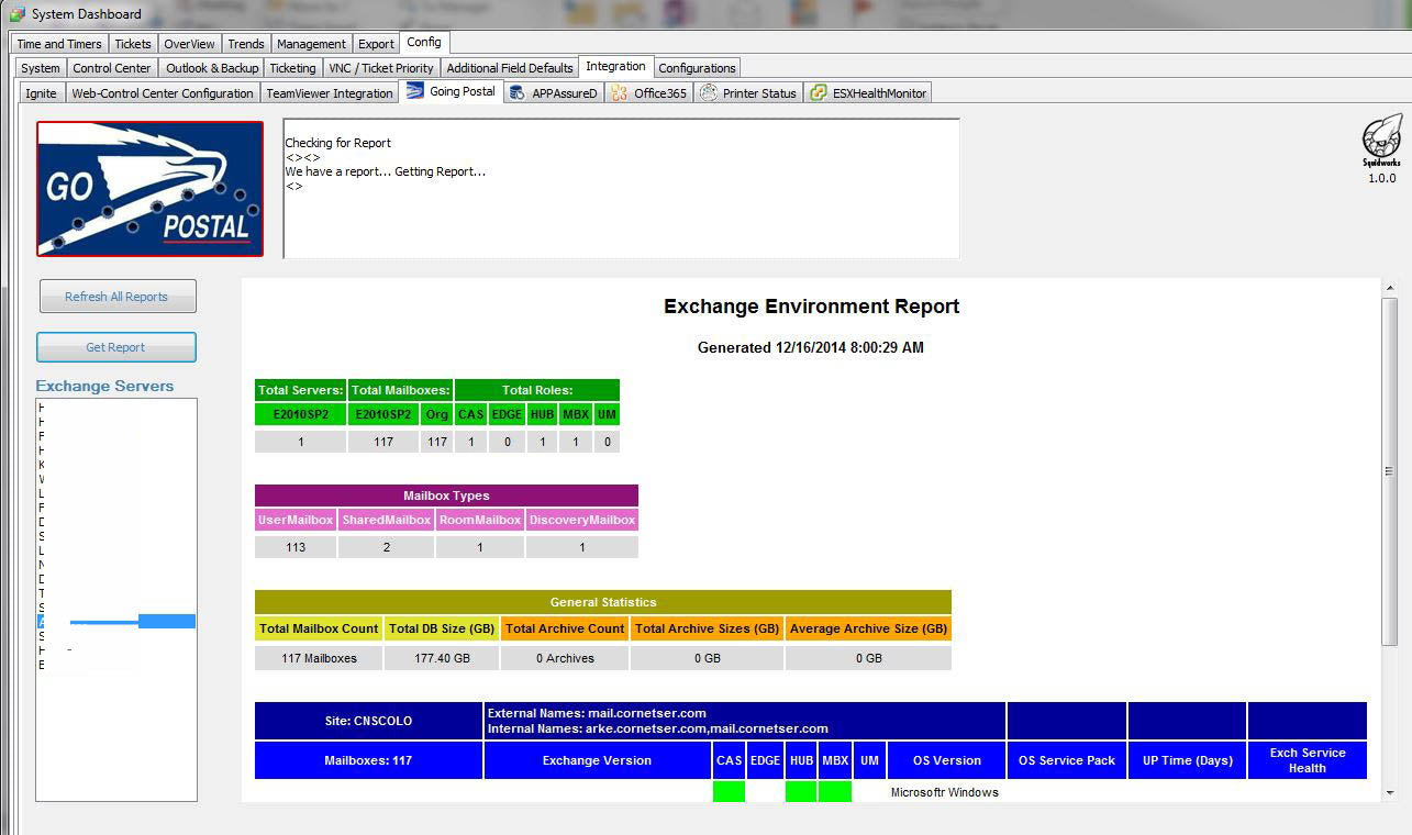 Go Postal Exchange Server Reporting Plugin for LabTech