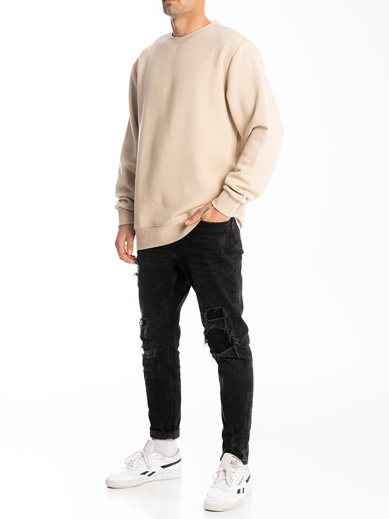 The 24 Blank Premium Crew Sweatshirt in Sand