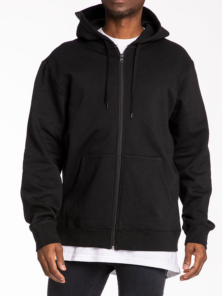 The 24 Blank French Terry Zip Up Hoodie in Black