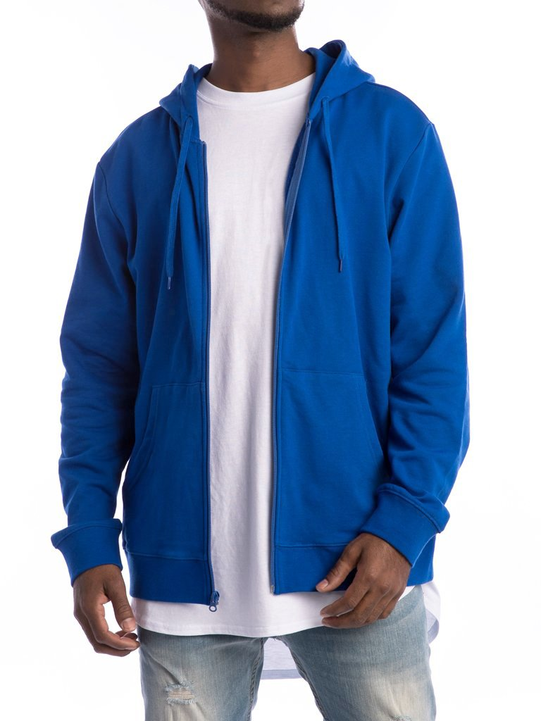 The 24 French Lux Zip Up Hoodie in Strong Blue