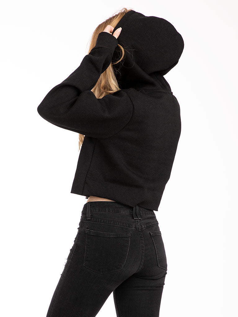 The 24 Ladies Crop Hoodie in Black