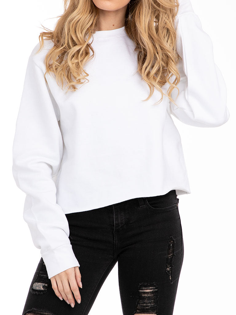 The 24 Ladies Crop Sweatshirt in White