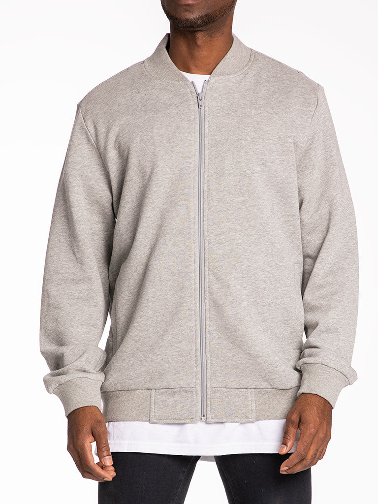 The 24 Blank French Terry Fleece Jacket in Heather Grey