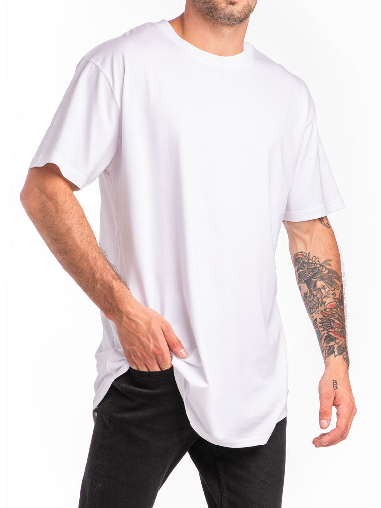 The 24 Blank Premium Scallop Tee in White