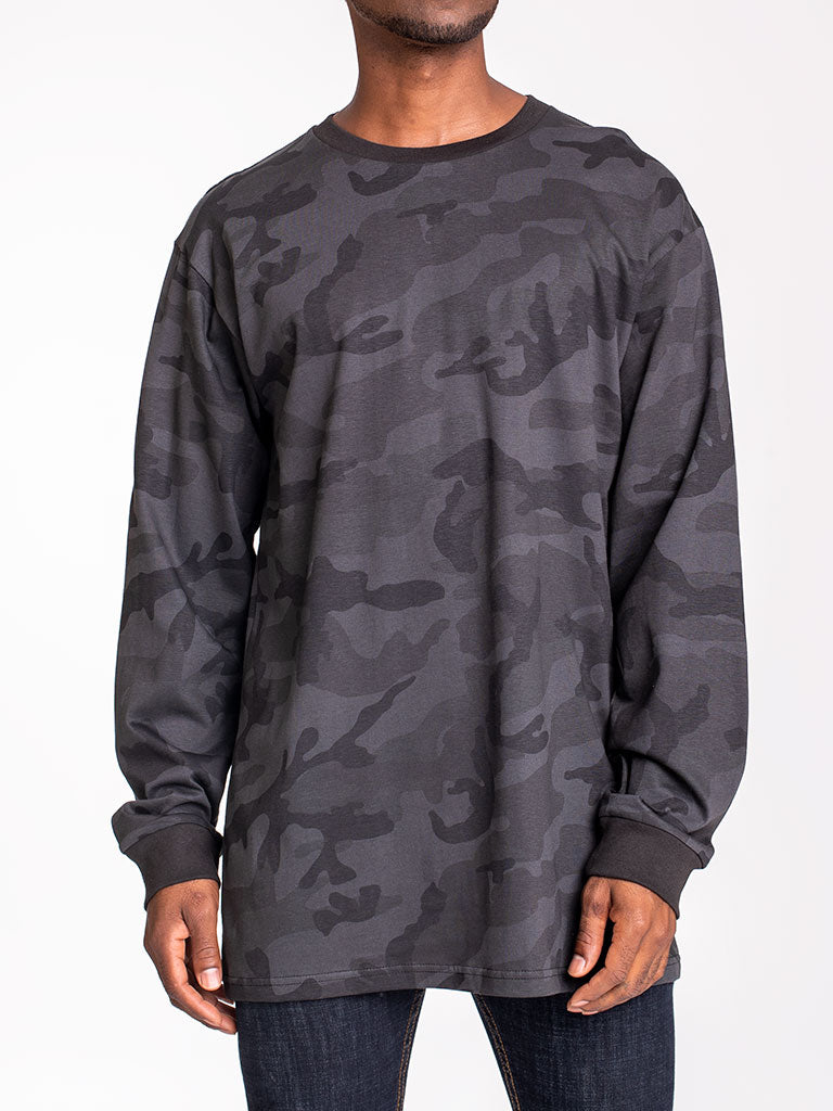 The 24 Blank Premium L/S Crew Tee in Black Camo