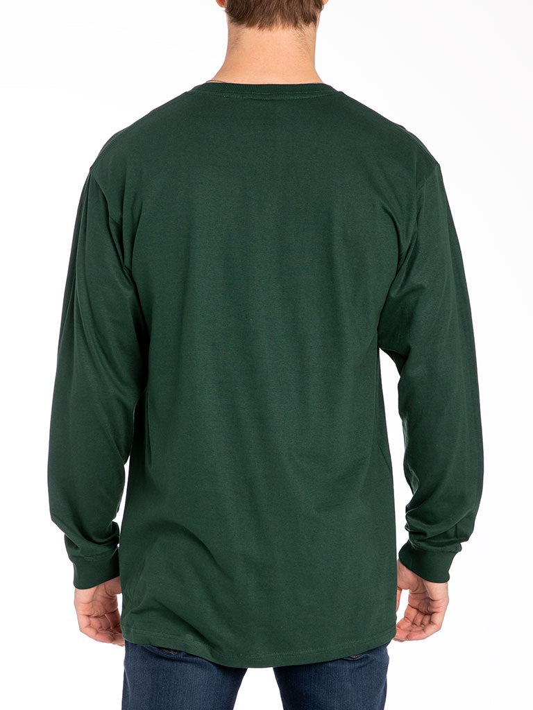 The 24 Blank Premium L/S Crew Tee in Forest Green